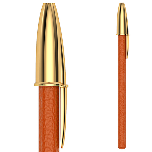 Stylo orange cuir taurillon vue (1)