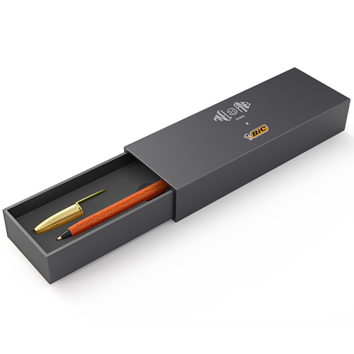 Stylo orange cuir taurillon vue (3)